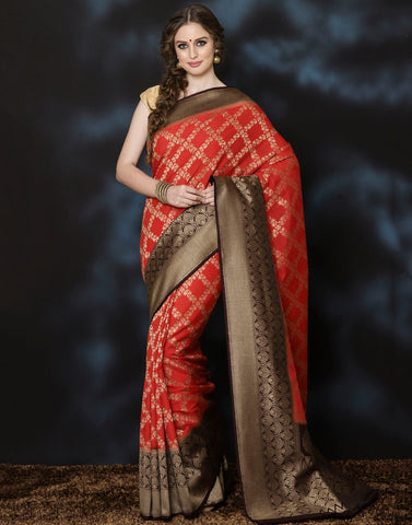 Woven saree with zari jaal