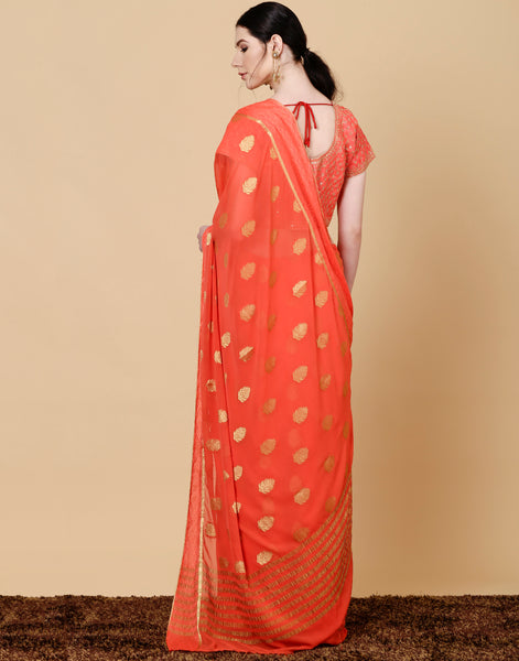 Meena Bazaar: Art chiffon saree with woven booties