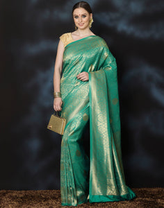 Meena Bazaar: Green  Art Handloom Silk Saree