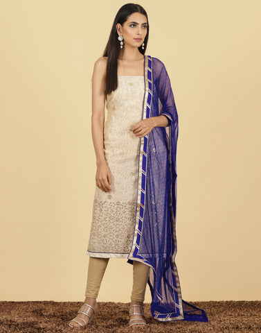 Unstitched Cotton Chanderi With Embroidery