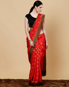Meena Bazaar: Art handloom woven saree with woven booties