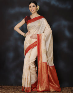 Woven saree with self-design floral jaal with paisley motifs