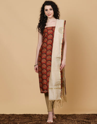 Meena Bazaar: Unstitched cotton chanderi suit piece