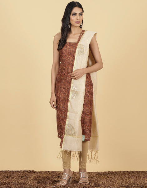 Unstitched cotton chanderi suit piece