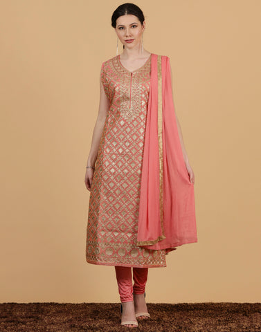 Cotton chanderi Anarkali suit wit dupatta