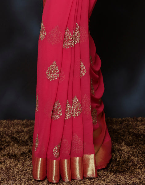 Plain Art chiffon Saree
