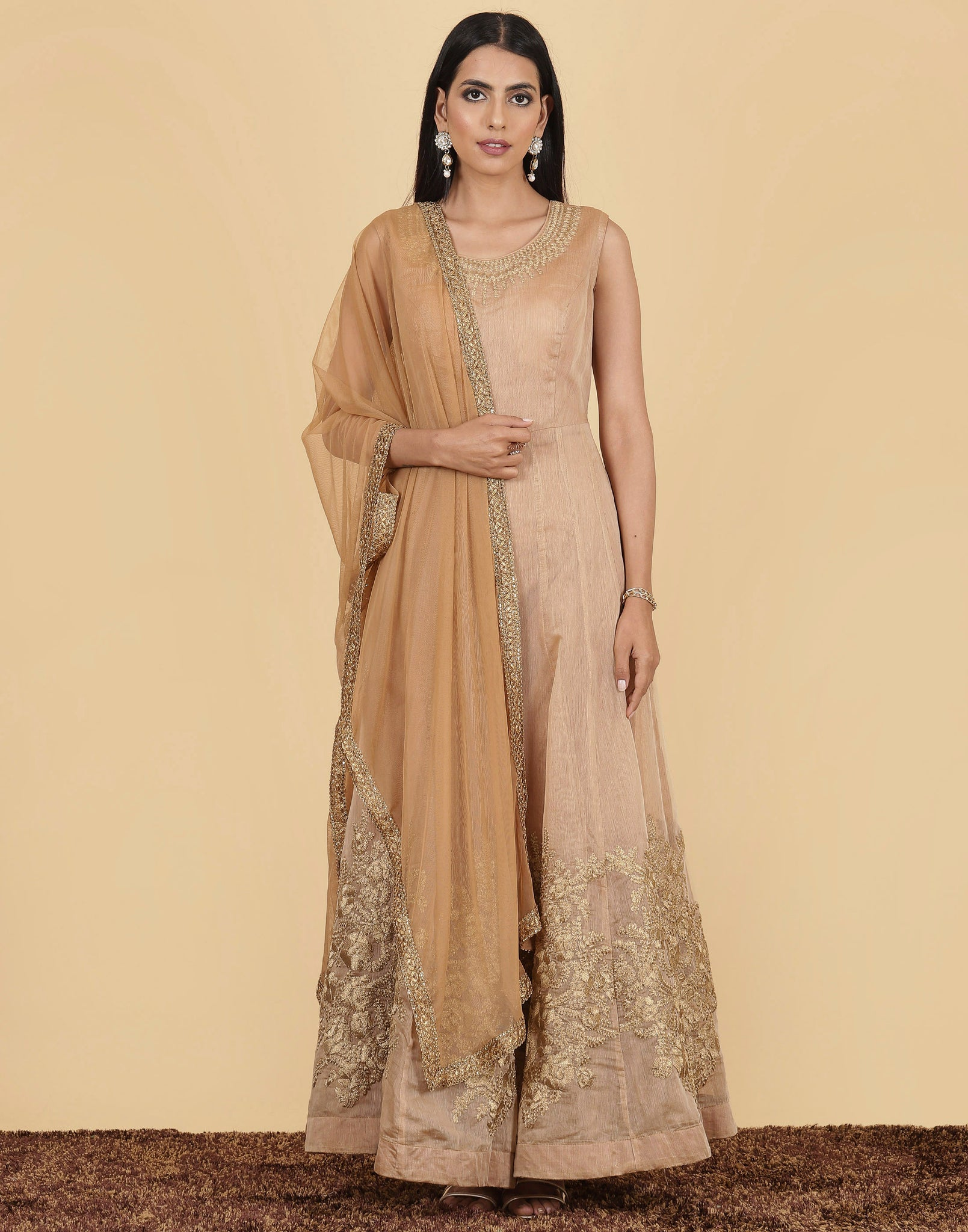 Anarkali style suit with golden yoke embroidery