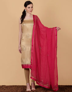 Unstitched Georgette Suit with Contrast Duppata