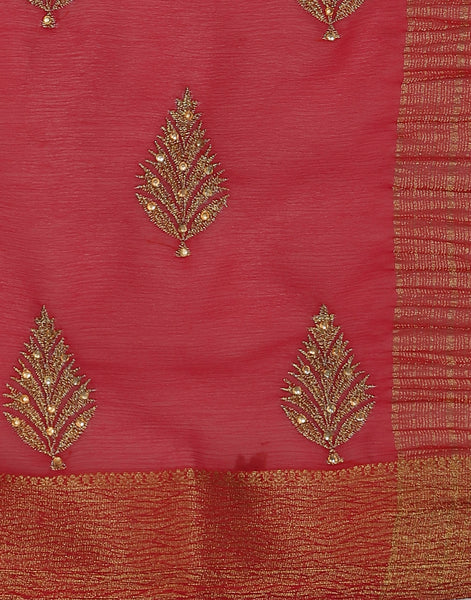 Woven saree with golden floral booties