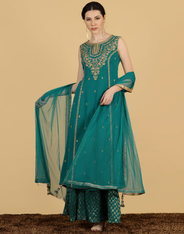Anarkali style georgette suit with golden embroidery.