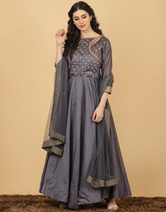 Anarkali style Cotton chanderi suit
