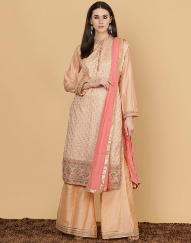 Cotton chanderi suit with banarsi woven sharara.