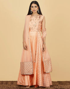 Meena Bazaar: PEACH Long suit with golden embroidery