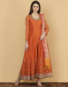 Meena Bazaar: Cotton chanderi suit with banarsi woven Anarkali Suit