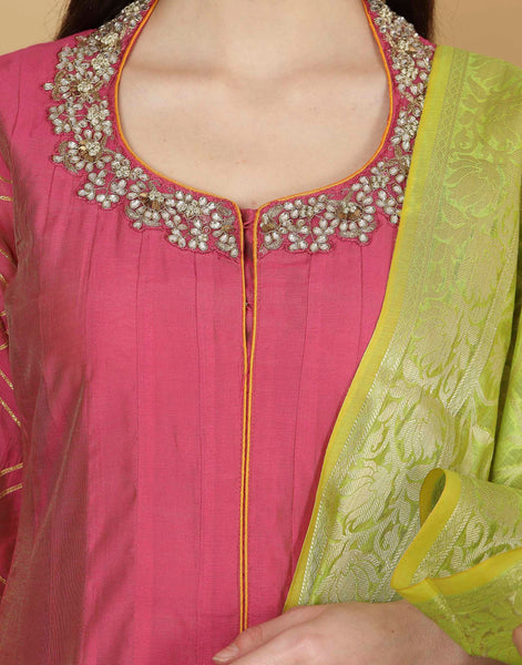 Cotton chanderi suit with banarsi woven.