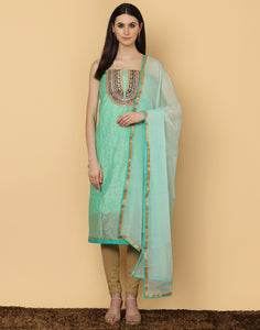 Unstitched Supernet Cotton Suit Embllished With Bead Work On Yoke By Meena Bazaar