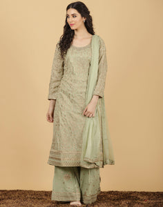Georgette suit golden embroidery work.y