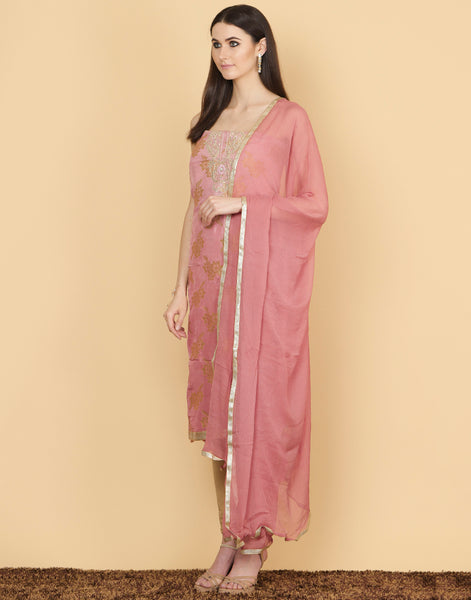 Unstitched cotton chanderi Embroidery suit piece