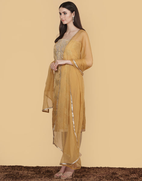 Unstitched Cotton Chanderi Suit With Embroidery
