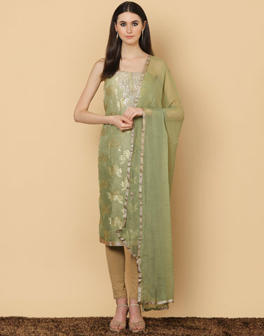 Unstitched Cotton Chanderi Suit With Floral Embroidery