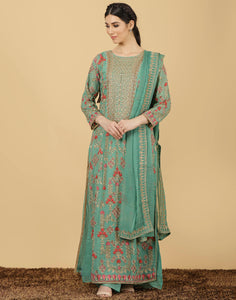 Georgette suit with embroidery work.