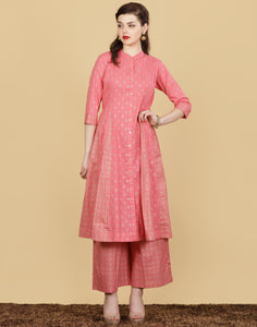 Meena Bazaar: Printed Cotton Kurta with Palazzo