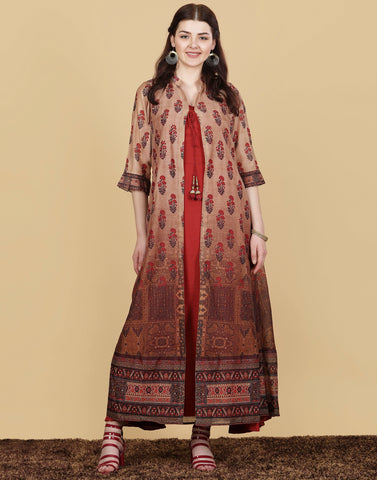 Cotton Chanderi Net Gown