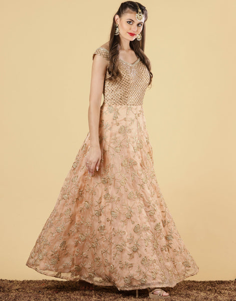 Peach Cotton Net Gown
