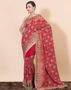 Golden embroidered saree