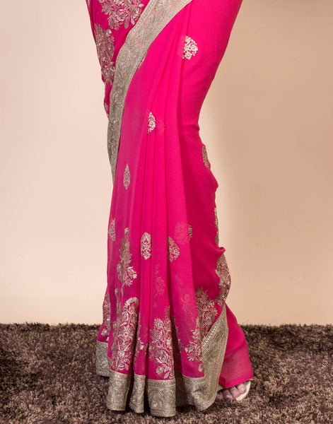 Georgette saree with golden floral embroidery jaal