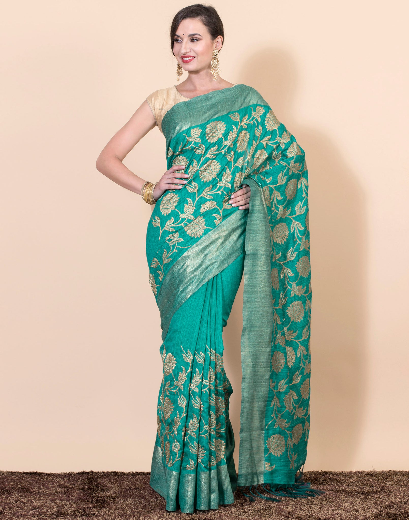 Golden woven zari work saree