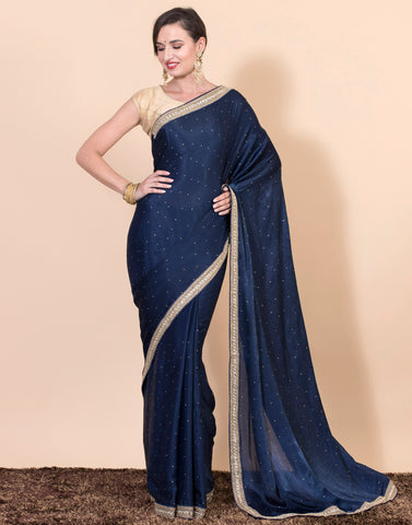 Meena Bazaar: Georgette saree with golden gota work