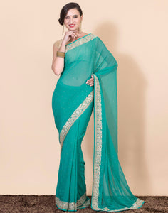 Georgette saree with golden gota work