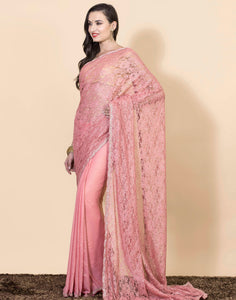 Half-n- half lace saree with beadwork