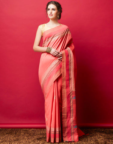 Peach Pink Art Handloom Woven Saree