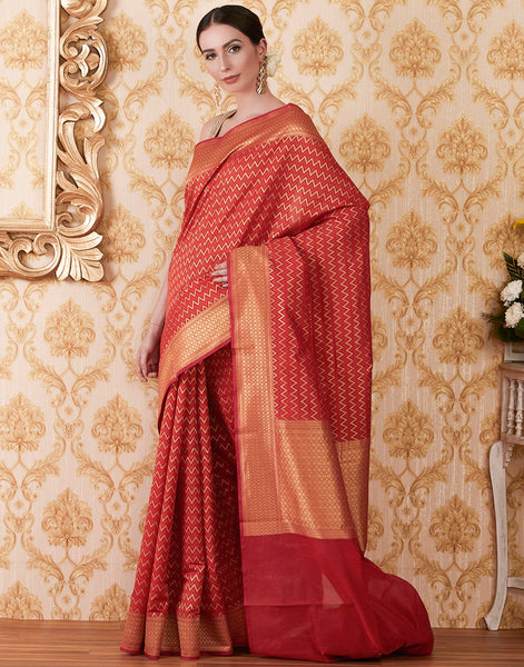 Red Handloom Cotton Woven Saree