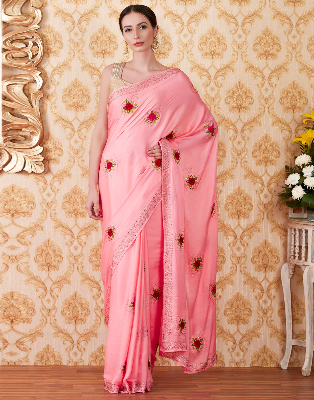 Pink Satin Embroidered Saree