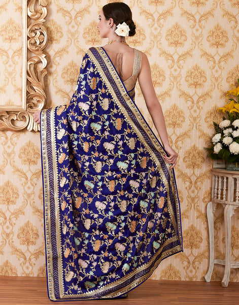 Royal Blue Art Handloom Embroidered Saree