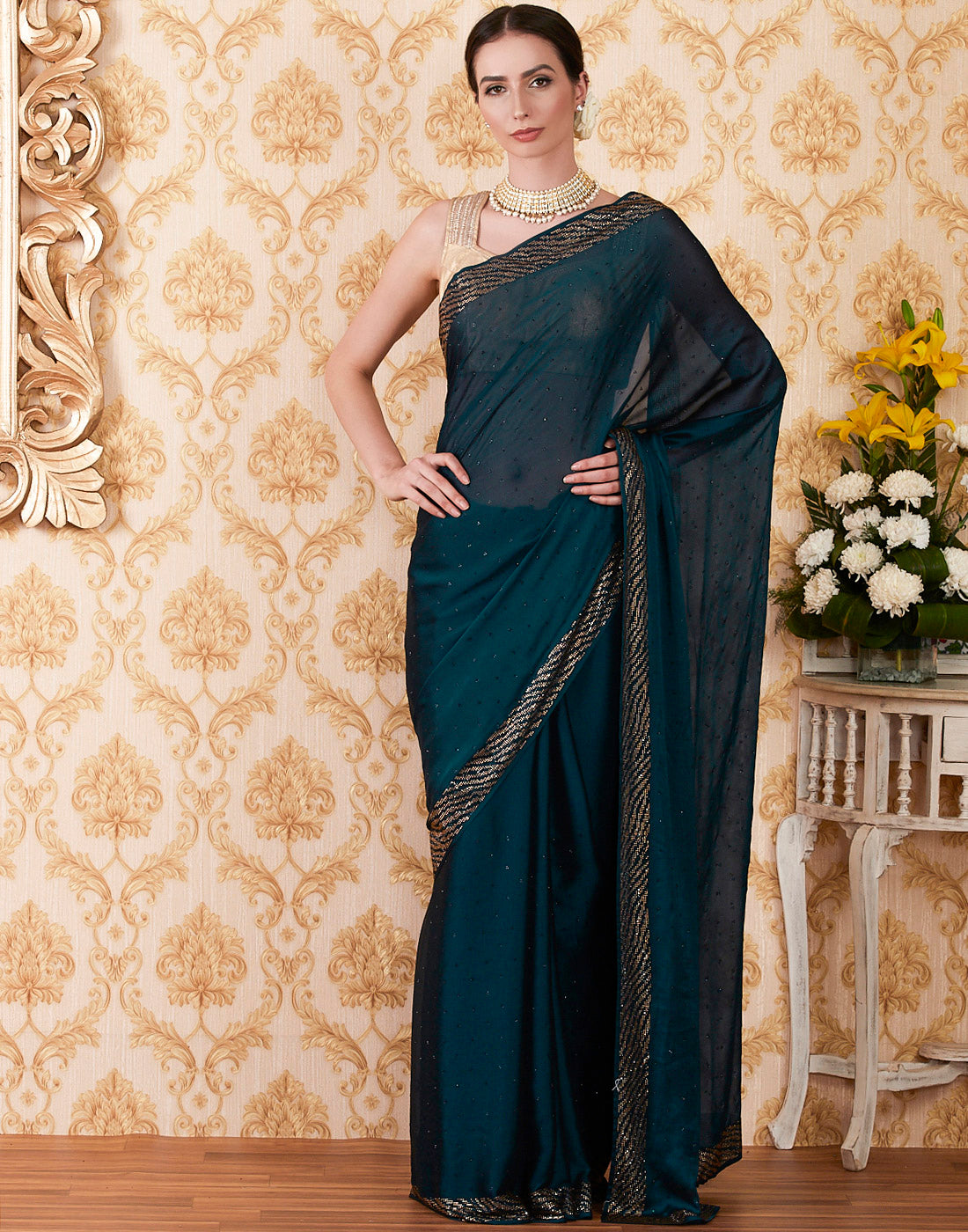 Peacock Blue Art Georgette Embroidered Saree