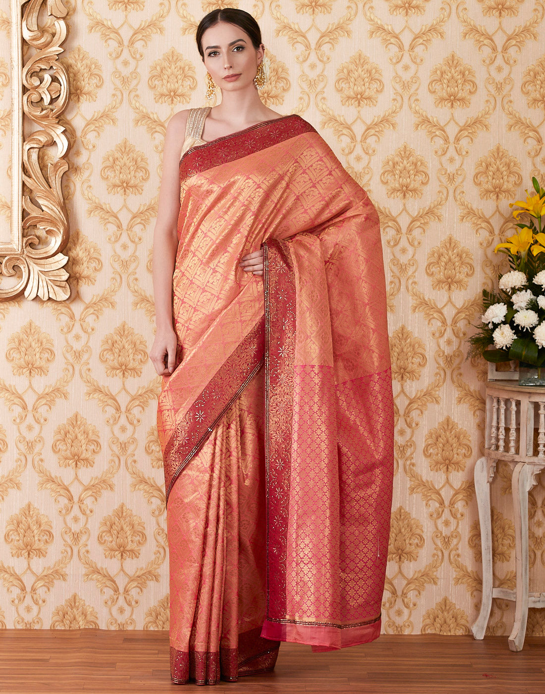 Rani Banarasi Silk Embroidered Woven Saree