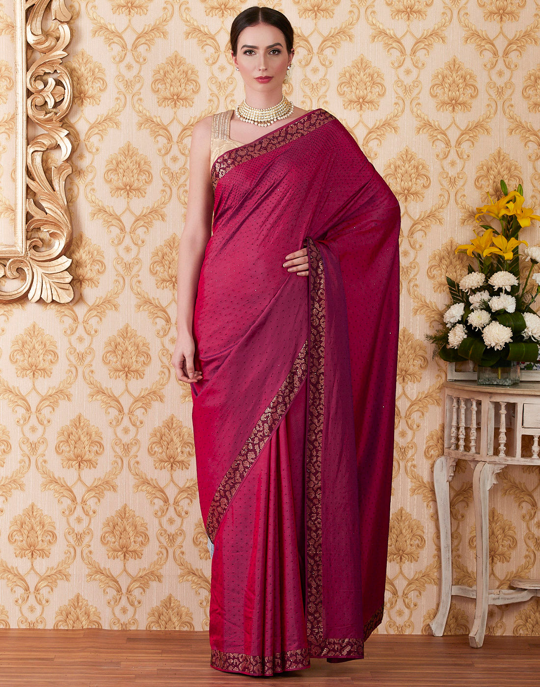 Magenta Art Handloom Dupion Embroidered Saree
