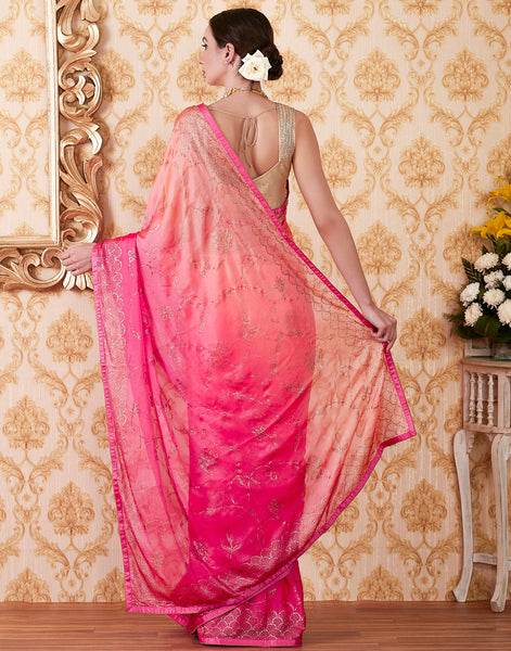 Peach Pink Art Chiffon Embroidered Saree