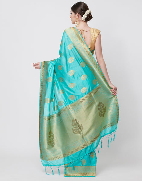 Sea Green Embroidered Art Handloom Saree