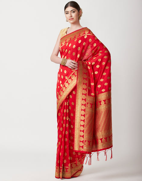 Red Banarasi Embroidered Saree