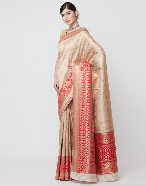 Beige Embroidered Banarasi Handloom Saree