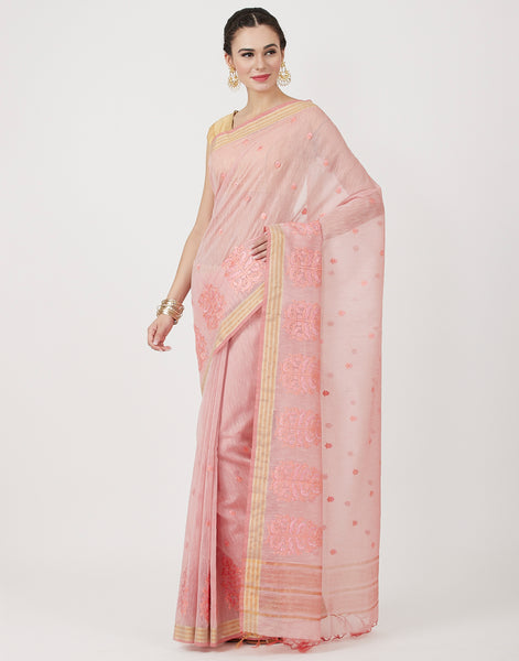 Peach Embroidered Cotton Saree