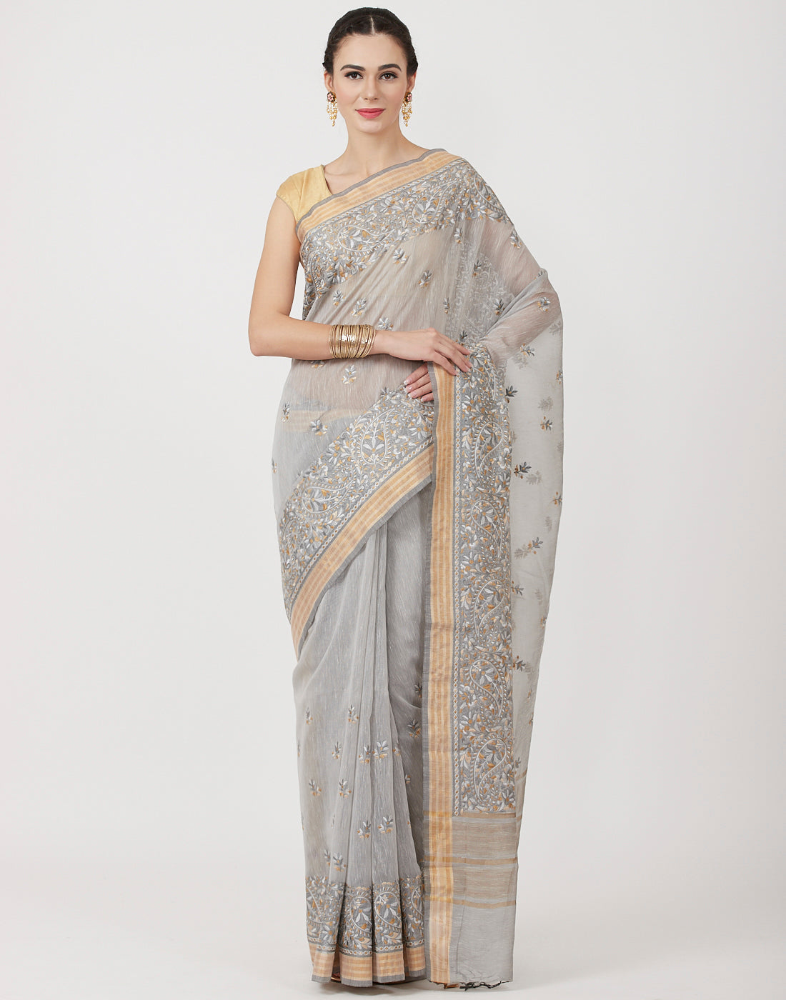 Grey Embroidered Cotton Saree