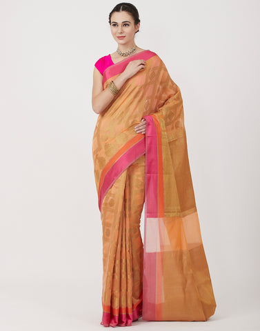 Peach woven Cotton Saree