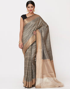 Black Cotton Tissue Saree