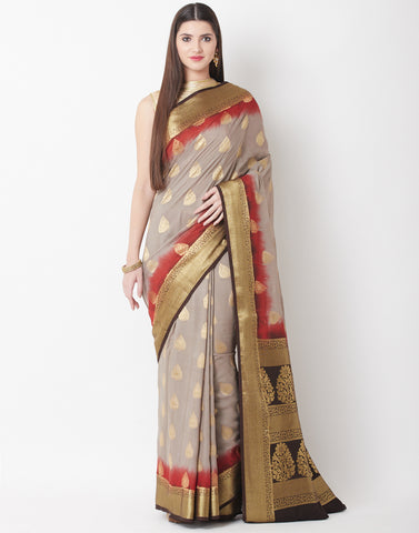 Grey Brown Cotton Woven Saree